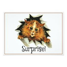Surprise Party Invitation, Louis Wain Cat Card
