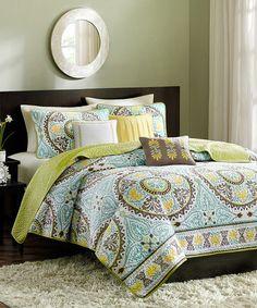 Another great find on #zulily! Blue & Green Circle Bless Quilt Set #zulilyfinds