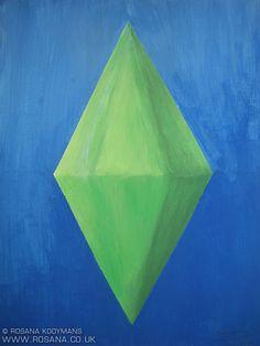 Sims (plumbob) painting, acrylic.