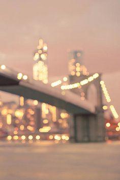 New York City And The Brooklyn Bridge - Night Lights