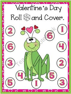 Valentine's Day Roll and Cover Games product from Bilingual-Resources on TeachersNotebook.com