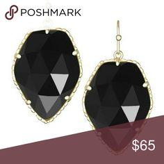 Black Kendra Scott Earrings Black gemstone drop earrings with gold plated brass. Brand new!  **No trades** Kendra Scott Jewelry Earrings