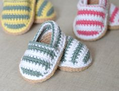 CROCHET Baby Shoes PATTERN for cute little Stripy Espadrille Shoes for Baby. This listing is for a CROCHET PATTERN and NOT a finished item. Make these lovely little espadrille shoes in no time with this easy-to follow-crochet pattern - written for intermediate beginners who are used to basic crochet stitches and simple patterns.  Discounts offered for bulk purchases of patterns:- Any 2 patterns for $10.00 use code: 24NINE Any 3 patterns for $14.00 use code: 34FOURTEEN Any 4 patterns for…