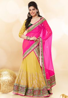 Yellow Faux Georgette Lehenga Choli with Dupatta: LXW62
