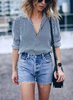 menswear striped shirt, /shopredone/ denim shorts | The August Diaries