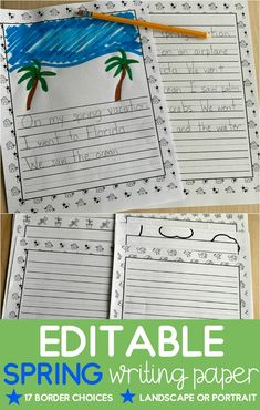 This spring paper is completely customizable! Great for spring writing prompts, custom reading responses, or sentence starters. Use them in your writing centers. Perfect for an elementary/primary teacher in Kindergarten, First Grade, and Second Grade. Also includes editable covers so that students can show off their writing with a completed cover, illustration, and full/half page of writing. Writing Centers, Writing Workshop, Writing Prompts, Writing Ideas, Literacy Centers, Kindergarten Writing, Teaching Writing, Kindergarten Activities, Print Handwriting