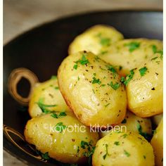 Potatoes baked in Chicken Broth, Garlic and Butter, SO GOOD! They get crispy on the bottom but stay fluffy inside. Chocked full of flavor