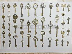 44pcs different vintage crown keys antique skeleton keys pendant heart Wedding decorations,wedding favors, christmas tree decorations on Etsy, $17.99