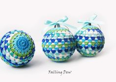 Holiday Christmas Decoration Crochet / Christmas Ornaments-Tree Decorations-Crocheted Baubles-Crochet Ornament, blue green Home Decor by FallingDew on Etsy