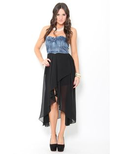 This dress has a pritty black high and low dress then a little denim sexyest dress ever
