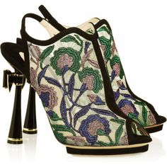 Nicholas Kirkwood Metallic floral-embroidered mesh sandals (€760) ❤ liked on Polyvore featuring shoes, sandals, heels, zapatos, boots, green, heeled sandals, green high heel shoes, multi colored sandals and green sandals