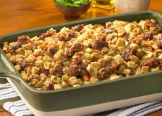Traditional Sausage Stuffing made with Johnsonville® Italian All Natural Ground Sausage. A great holiday side for Thanksgiving or Christmas, and a great fall or winter dish ANYtime!