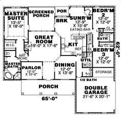 First Floor Plan of Country   House Plan 67087