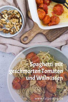 Rezept für Spaghetti mit Tomaten aus dem Ofen (geschmort). Mit Walnüssen als Topping und optional Parmesan. Vegetarisch, schnell, einfach. Pasta-Rezept.