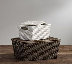 Clive Tightweave Lidded Baskets #potterybarn  Again, in either honey or white.