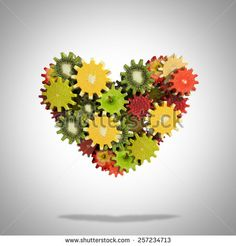 Heart shape made of fruit gears