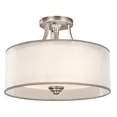 Kichler Lighting Lacey Collection 3-light Antique Pewter Semi-Flush Mount | Overstock.com Shopping - The Best Deals on Flush…