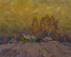 Winter village by Vasiliy Belikov now featured on ArtDealer