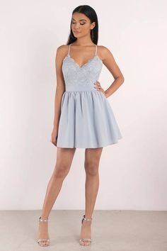 858625cde5 Mila Light Blue Lace Pleated Sleeveless Skater Dress Cute Dresses
