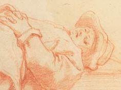 Jacopo da Empoli (1551-1640) - Studio di giovane sdraiato -  1610-1620 circa - matita rossa su carta bianca - Firenze, Gabinetto Disegni e Stampe degli Uffizi