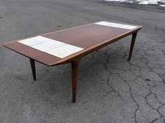 Great Vintage Walnut Tile Coffee Table Mid Century Danish Modern