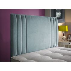 The Zien headboard is a modern stylish headboard which makes any normal divan bed look a lot better. It features a decorative vertical inset grooves at the outer edge. Bed Headboard Design, Headboard With Shelves, Cushion Headboard, Bed Cushions, Bedroom Bed Design, Bedroom Furniture Design, Headboards For Beds, Bed Furniture, Bedroom Decor