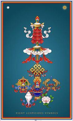 Eight Auspicious Symbols Canvas Print Canvas Art By - Buddhism Art Fine Art America April Buddhism Painting Eight Auspicious Symbols By Fred Van Der Zee Tibetan Symbols Tibetan Buddhism Buddhism Symbols Tibet Art Vajrayana Buddhism Budd Tibetan Symbols, Buddhist Symbols, Tibetan Buddhism, Art Buddha, Buddha Kunst, Ganesha Tattoo Lotus, Lotus Tattoo, Tattoo Ink, Hand Tattoos