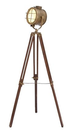 46666 Brass Wood Studio Light Is Designed As Entertaining And Involving Homedecor. It Is An Essential Utility Item For Any Studio. It Comes With A Foldable Wood Metal Tripod So Its Height Can Be Adju Industrial Floor Lamps, Brass Floor Lamp, Modern Floor Lamps, Cool Floor Lamps, Industrial Loft, Unique Lamps, Unique Lighting, Lighting Ideas, Vintage Lighting