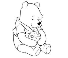 winnie the pooh holding on to balloon coloring page