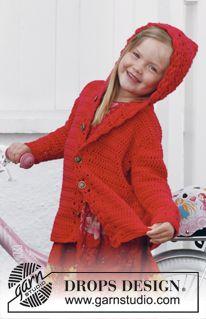 """Little Red Riding Hood - Heklet DROPS kåpe i """"Paris"""" med hette. Str 3 - 12 år - Gratis oppskrift by DROPS Design"""