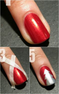 Simple Tree - 20 Fantastic DIY Christmas Nail Art Designs That Are Borderline Genius