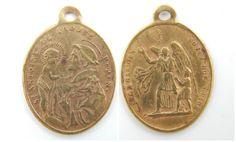 French Antique Saint Anthony - Guardian Angel Catholic Medal - Ange Gardien Soyez Mon Guide - Angelic Religious Charm by LuxMeaChristus