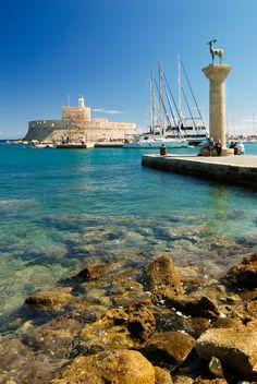 Mandraki Rhodes, Greece The Statues ofthe deers! Beautiful Islands, Beautiful World, Beautiful Places, Beautiful Pictures, Greece Travel, Italy Travel, Myconos, Holiday Places, Greece Islands