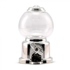 This chic version of everyone's childhood favorite candy dispenser is dressed up in a shiny silver finish that will look amazing at any wedding reception or party. Fill with your favorite treats or candies and add a personalized tag for a special take home favor guests of all ages will enjoy. This refillable gumball machine features a twist dispenser.
