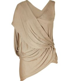 drapped tops   Helmut Lang Frosted Gold Draped Top... post mastectomy fashion