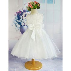 A-line+Knee-length+Flower+Girl+Dress+-+Tulle+/+Polyester+Sleeveless+Jewel+with+–+USD+$+39.99