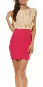 Fitted pink skirt and chiffon creme -chic sleeveless top
