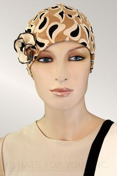 $19.75 - Drops on Taupe Flapper     #cancer #chemo #alopecia #hair loss