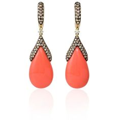 1.14ct Diamond and Coral 14k Yellow Gold Dangle Earrings (48 915 UAH) ❤ liked on Polyvore featuring jewelry, earrings, 14k gold earrings, long gold earrings, coral earrings, yellow gold dangle earrings and diamond earrings