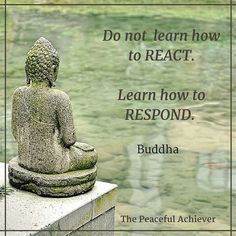 """Wisdom Quote ~ """"Do not learn how to react. Learn how to respond."""" Buddha:"""