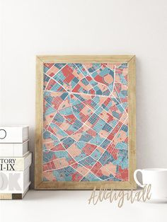 Bogota map print Colombia poster city maps colorful print
