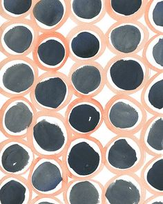 Stampa — Rebecca Atwoord, Circles-1, circles in peach and black Watercolor paint