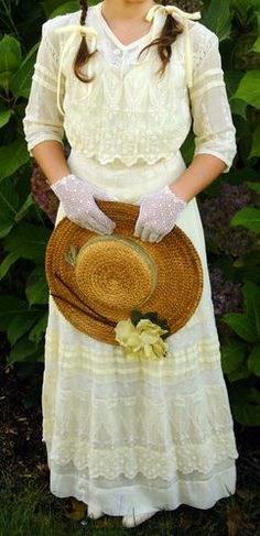 Young Ladies Edwardian summer cotton Tea Dress in pale yellow and white