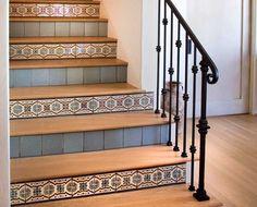 Bon IDI Talavera Lirio Naranja And Lirio Verde Tile Used As Stair Riser Sold By  Tango Tile