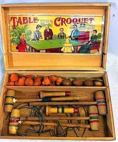Antique Table Croquet Game early 1900's.