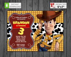 Printable invitation Woody in PDF with Editable Texts Woody