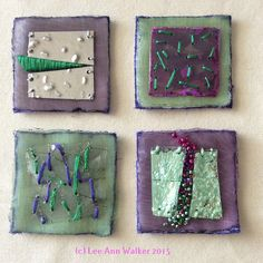 """Lee Ann Walker, 3a-2"""", 2/3/2015, Two inch square commercial felt base, organza, melted plastic, metal, thread, beads. Working with applied items, stitching through transparencies"""