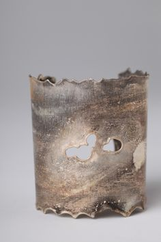 Grey, Yellow, and Brown Reticulated Sterling Silver Cuff - Altered Space by Kimberly Deterline