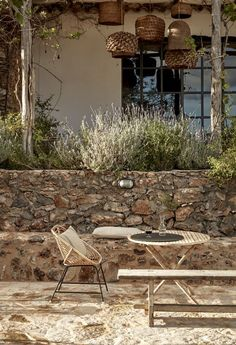 Hotel with a History: A Landscape of Sun and Stone at La Granja Ibiza Travelers don't head to Ibiza to spend time indoors. At La Granja Ibiza, the island's newest boutique hotel, the landscape does not disappoint. Two acres o Banco Exterior, Exterior Design, Outdoor Spaces, Outdoor Living, Outdoor Decor, Landscape Design, Garden Design, Terrace Design, Villa Design