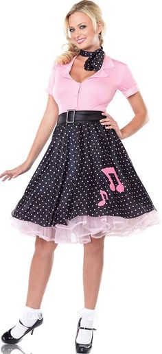 SOCK UP SWEETIE COSTUME - 1950 AMERICAN DANCE OUTFIT - 1950\'S JUKEBOX GIRL UNIFORM - GREASE FANCY DRESS